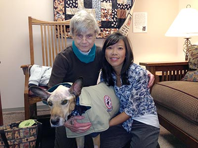 Scout with Dr. Chen and owner